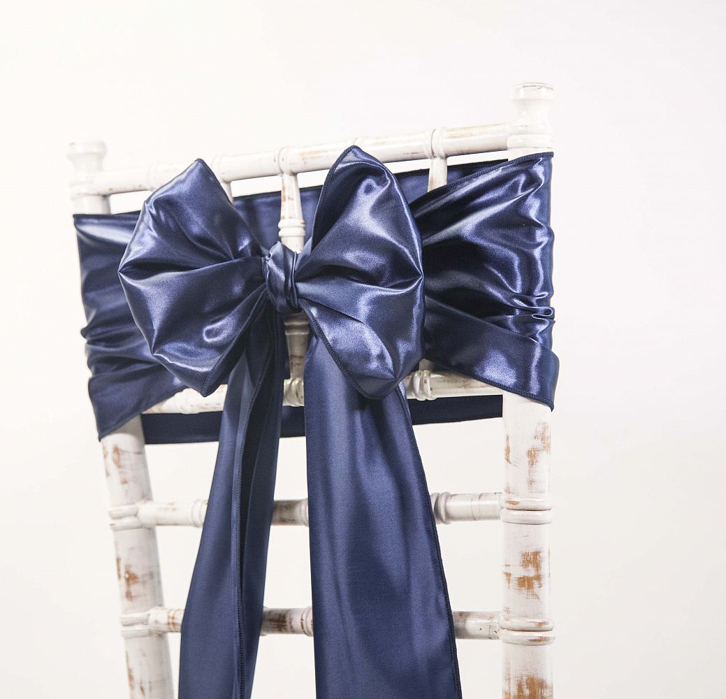 satin sash navy chair covers of yorkshire